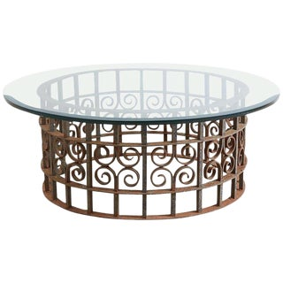 Spanish Style Wrought Iron Round Cocktail Table For Sale
