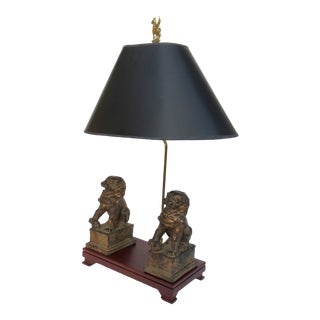 C.1970s-80s Vintage Asian, Chinoiserie-Style, Boho Chic Gilt Foo Dog Lamp For Sale