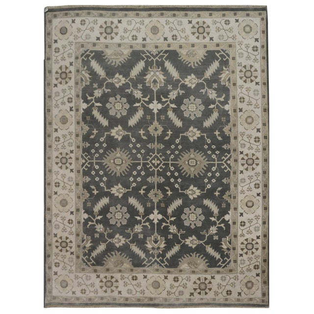 Hand Knotted Indian Oushak Rug - 8′1″ × 9′10″ For Sale