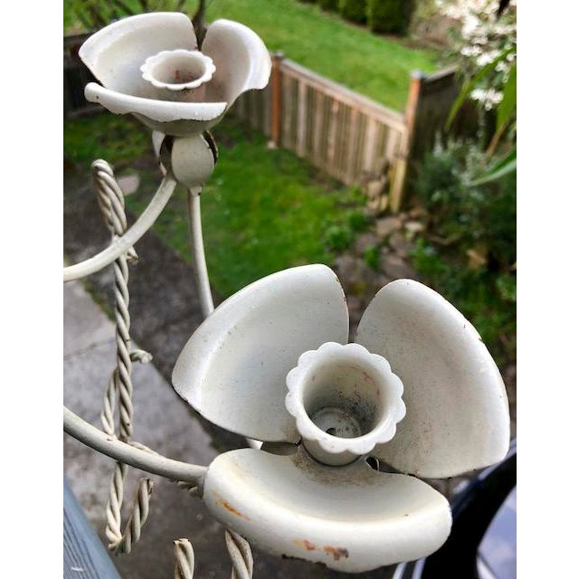 1930s Mid-Century Wrought Iron Wall Sconce Candle Holders - Set of 2 For Sale - Image 5 of 10