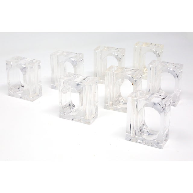Transparent Vintage Lillian Vernon Lucite Vase Napkin Rings - Set of 8 For Sale - Image 8 of 13