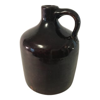 Antique Dark Brown Pottery Whiskey Jug For Sale