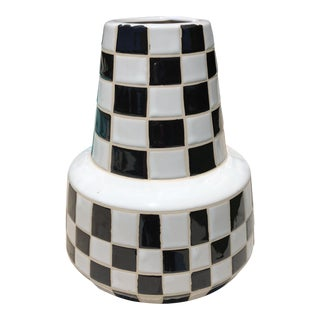 Modern Black & White Checkered Vase