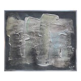 Image of Brushstroke Abstract on Black Painting For Sale