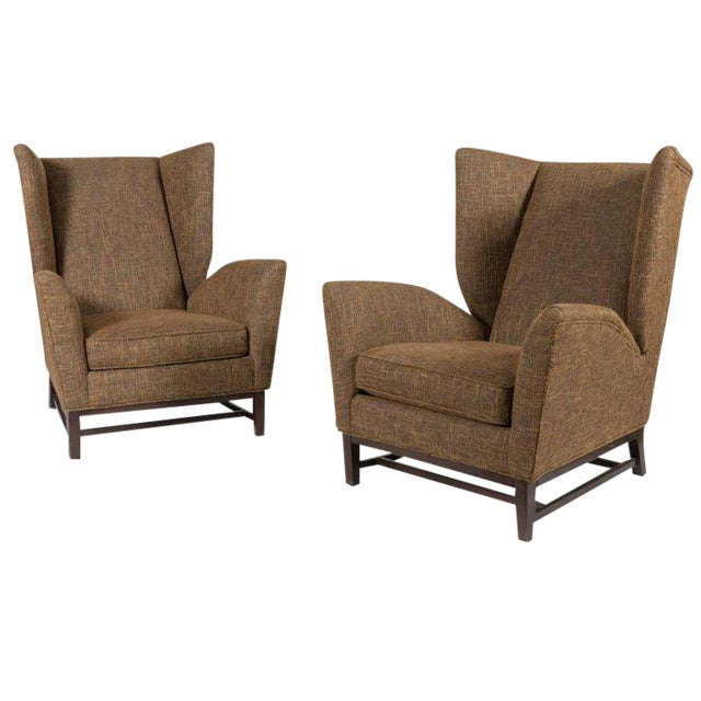 Pair of Mid-Century Modern Wingback Lounge Chairs For Sale
