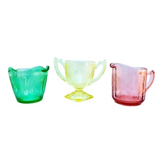 Depression Glass Mismatched Sugar Bowl & Creamers - Set of 3