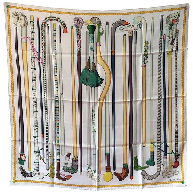 Hermes Les Cannes Silk Scarf in White For Sale