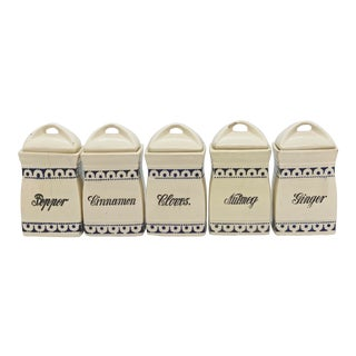 Vintage German Porcelain Spice Jars - Set of 5 For Sale