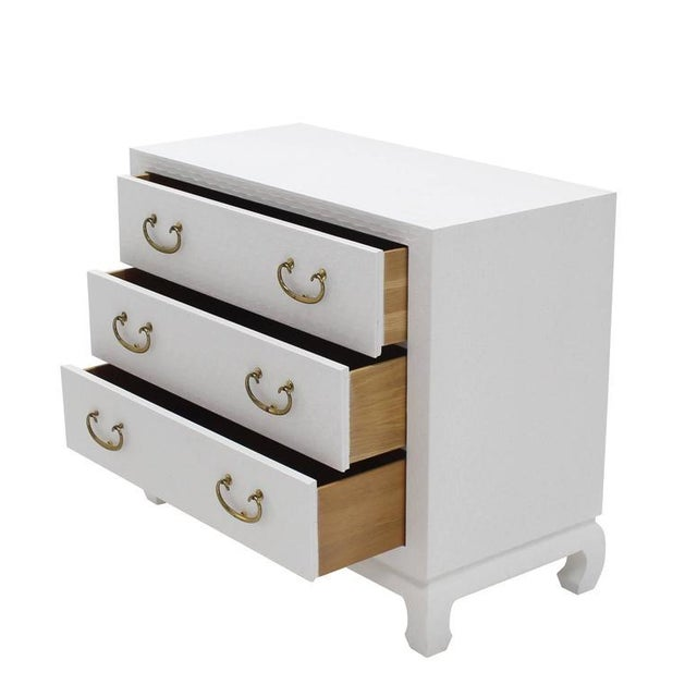 Baker Three-Drawer White Lacquer Cloth Cabinet Brass Pulls For Sale In New York - Image 6 of 9