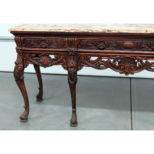 Georgian style mahogany 3 drawer marble top sideboard. Mid 20th Century.