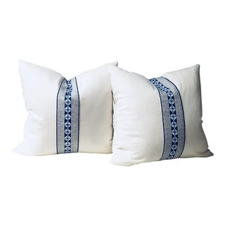Custom White Linen Pillows - a Pair