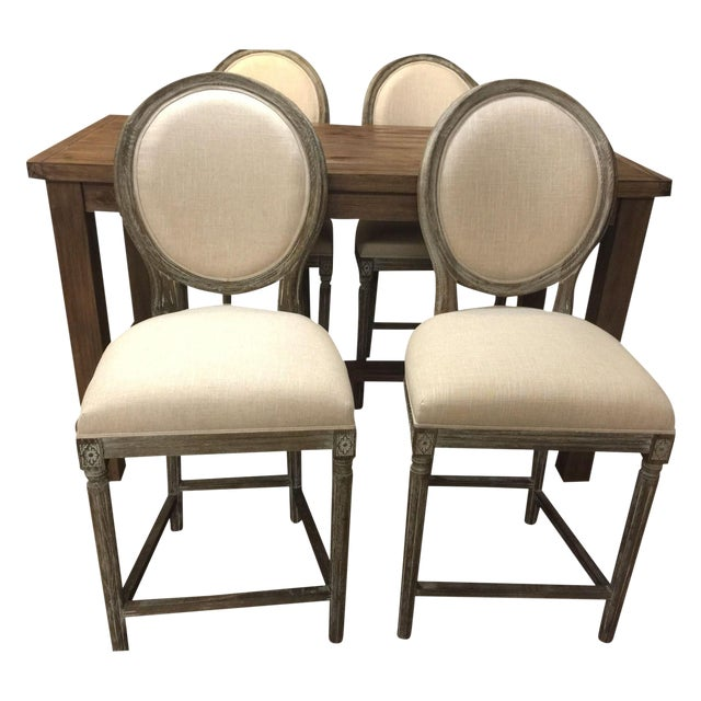 Off White Hand Painted Pub Chairs - 2 - Image 2 of 5