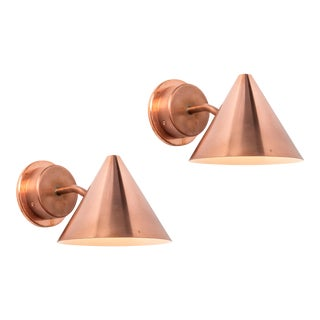 Hans-Agne Jakobsson 'Mini-Tratten' Polished Copper Outdoor Sconces - a Pair For Sale