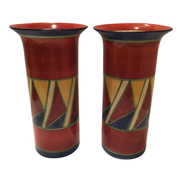 Clarice Cliff Early Geometric Vases - Pair For Sale