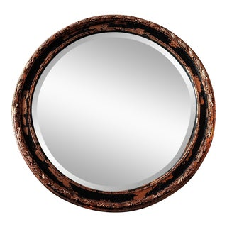 1950s Boho Chic Black Gothic Glam Copper Leaf Mirror For Sale