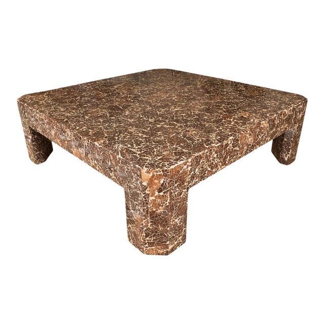 Lacquered Coconut Shell Coffee Table For Sale