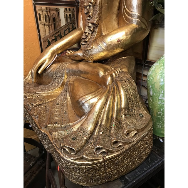 Asian Antique Hand Carved Wood & Gold Buddha For Sale - Image 3 of 5