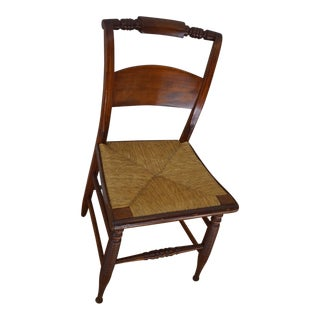 Antique Rush Seat Dining Chair with Turned Legs and Rail For Sale
