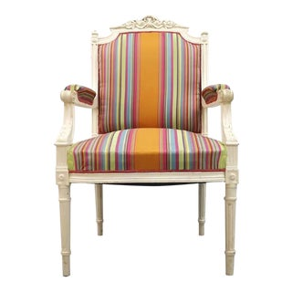 Vintage French Reupholstered Louis XVI Style Shabby Chic White Armchair For Sale