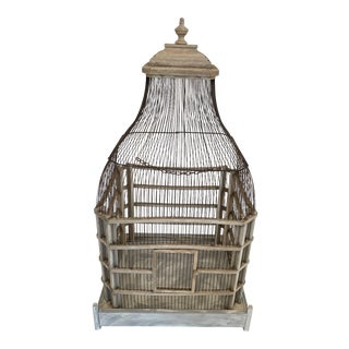 Large Painted Grey Wood & Wire Birdcage For Sale