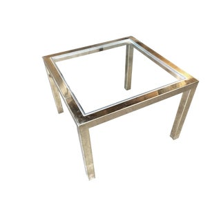 Milo Baughman Style Brass Glass Top Side Table For Sale