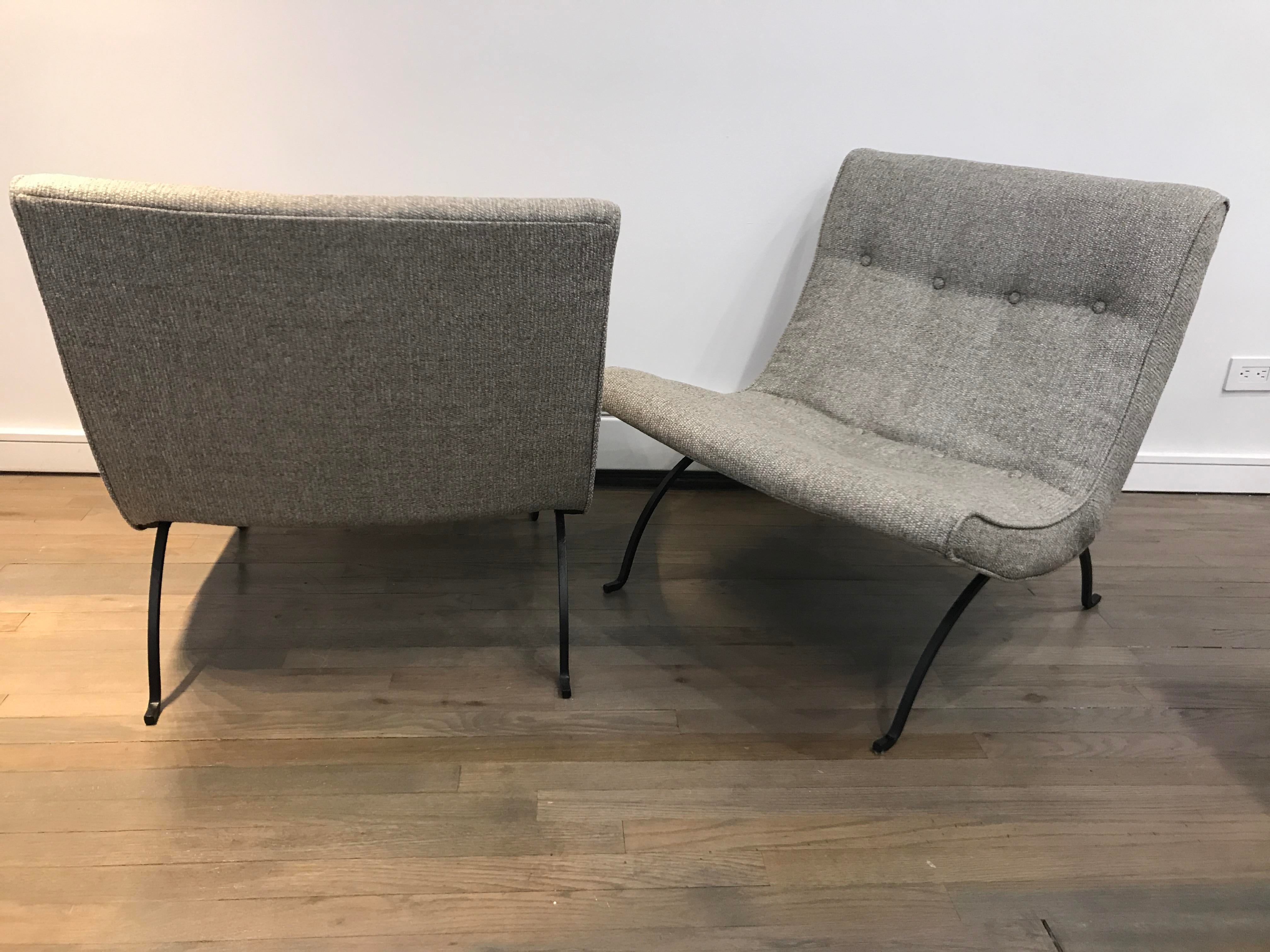 Milo Baughman Wrought Iron Grey Tweed Scoop Chairs   A Pair   Image 2 Of 6