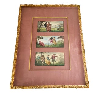 Frame9th French Limoges 3 Enamels Miniatures Plaques Paintings For Sale