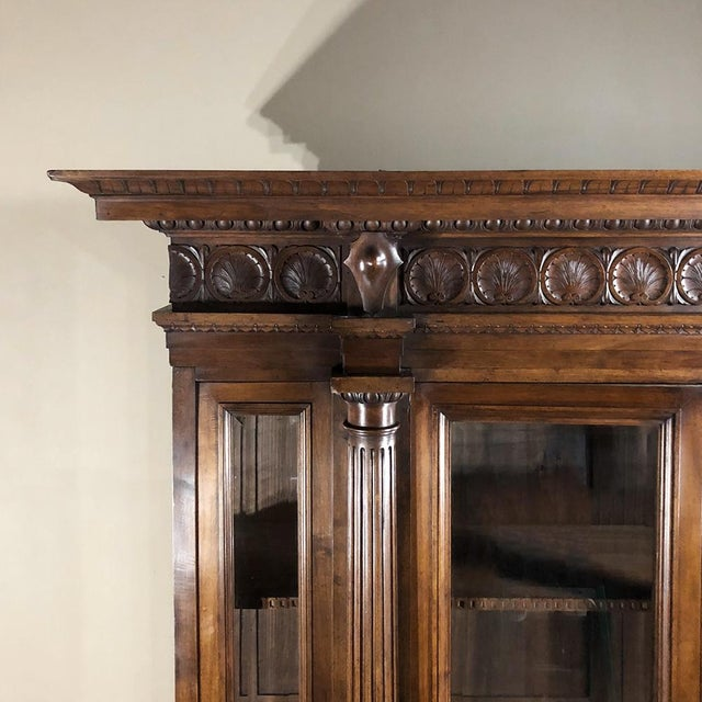Walnut Grand 19th Century Italian Walnut Neoclassical Bookcase For Sale - Image 7 of 13