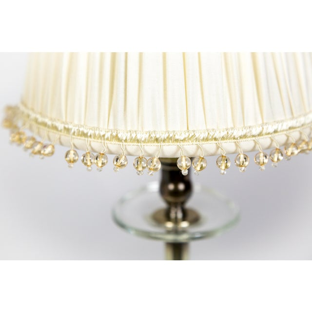 Brass Crystal and Silver Candlestick Lamps (Pair) For Sale - Image 7 of 10