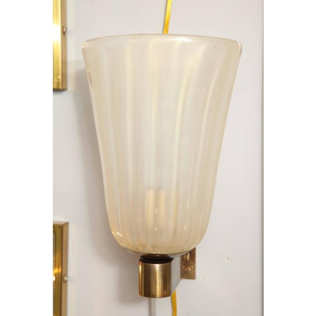 Pair of Murano Glass and Brass Wall Sconces For Sale - Image 4 of 8