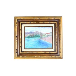 1960s Painting of French Beachside Chateau in Faux Bamboo Frame For Sale