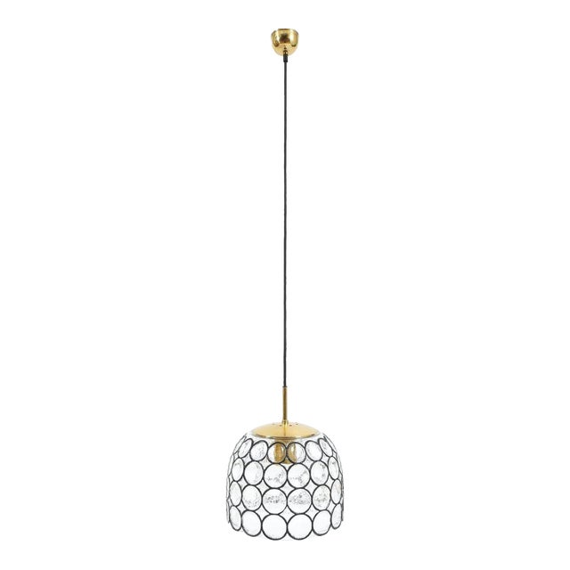 Limburg Glass and Brass Pendant Lamp Light, Germany, 1960 For Sale