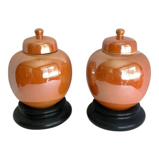 Pair of Antique English Tangerine Ginger Jars For Sale