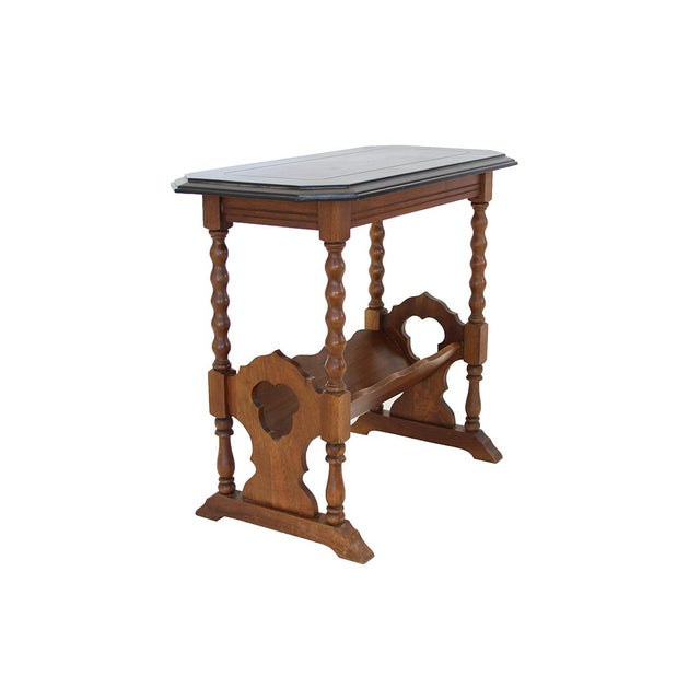 Form with function- This attractive occasional table with slanted shelf would make an ideal end table in a TV/Reading...