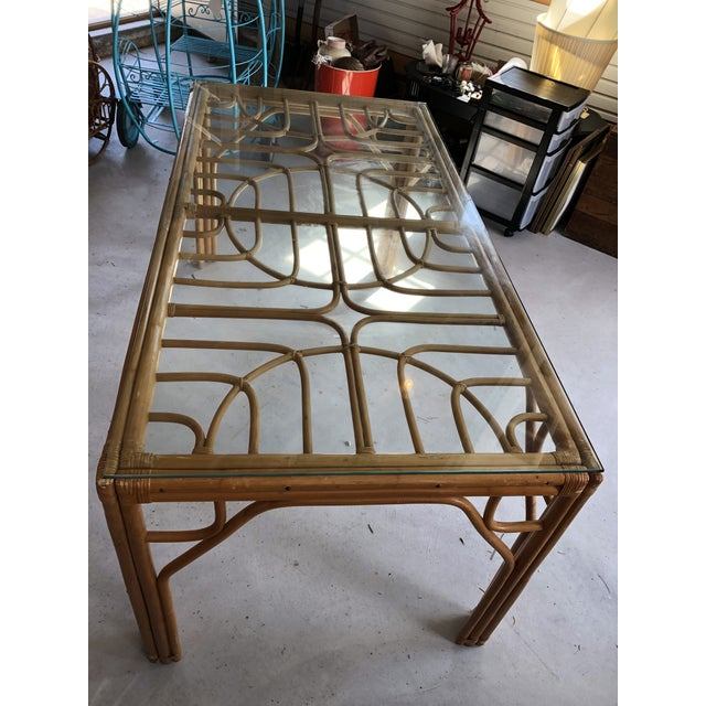 Boho Chic Vintage Bamboo & Glass Top Dining Table For Sale - Image 3 of 11