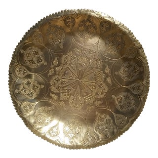 Antique Moroccan Brass Tray For Sale