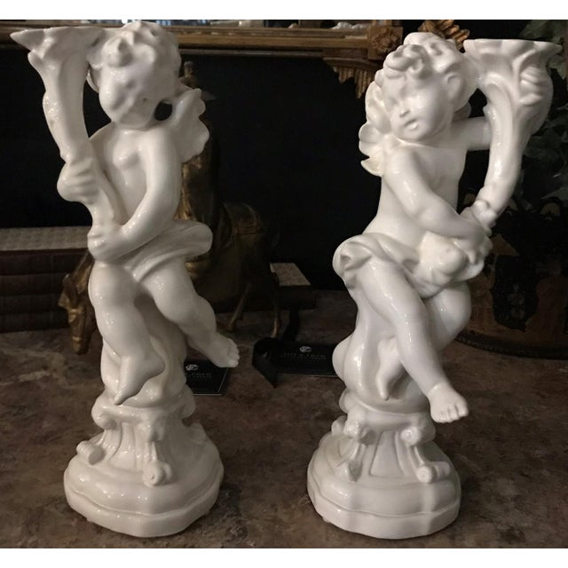 Ceramic Blanc de Chine Ceramic Cherub Candleholders - a Pair For Sale - Image 7 of 7