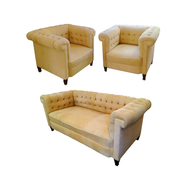 Josef Hoffmann 1920s Bauhaus Josef Hoffmann Style Leather Sofa & Club Chairs - Set of 3 For Sale - Image 4 of 4