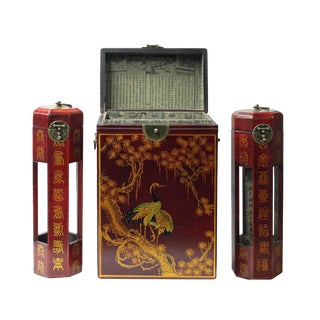 Chinese Red Leather Crane & Pine Motif Gift Box Set - 3 Pieces