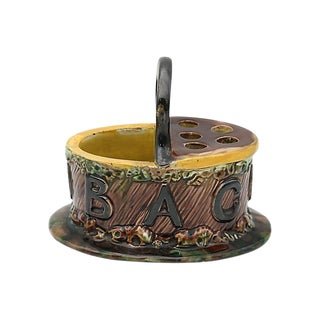 Antique English Majolica Pipe Holder For Sale
