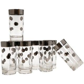Mid-Century Polka Dot High Ball Glasses - Set of 8