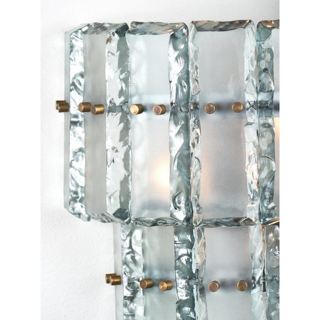 Silver Pair of Vintage Murano Glass Fontana Arte Sconces For Sale - Image 8 of 8