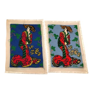 Hand-Stitched Needlepoint of Asian Ladies - a Pair For Sale