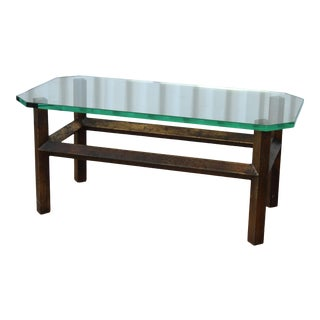 1960s Solid Bronze & Glass Coffee Table For Sale