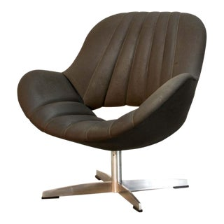 Attractive Chocolate Brown Leatherette Dutch Design Club Chair by Romefa Holland, 1960s