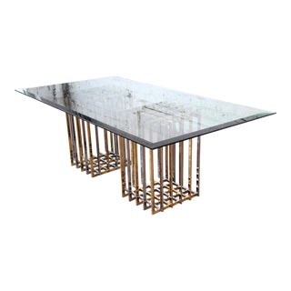 Pierre Cardin Mid-Century Hollywood Regency Dining Table in Brass, Nickel, and Glass, 1970s For Sale