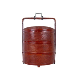 20th Century Chinese Rattan Hamper/Food Box For Sale