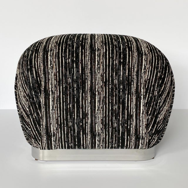 Karl Springer Style Chrome Souffle Pouf Ottomans - a Pair For Sale - Image 9 of 13