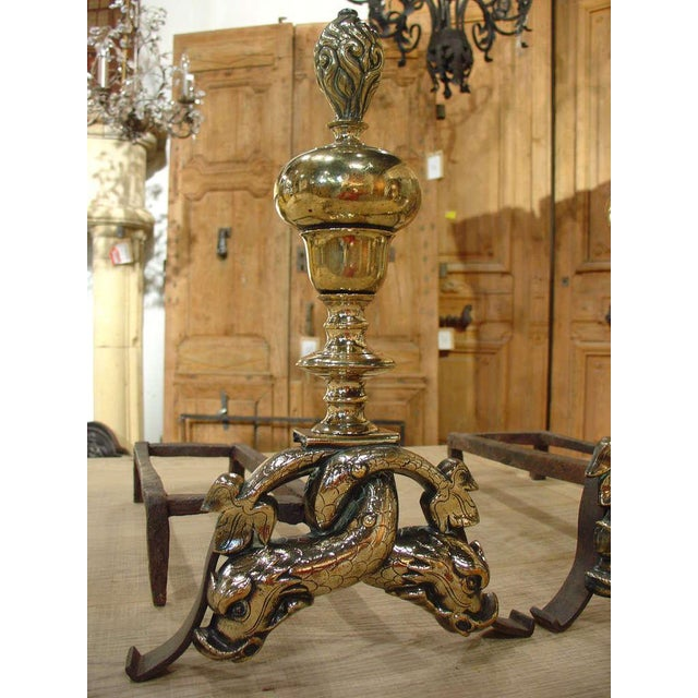 French Pair of Period Louis XIV Bronze Andirons For Sale - Image 3 of 10