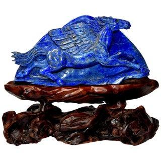 Lapis Lazuli Pegasus Statue, Horse Sculpture For Sale
